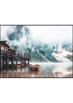 Wooden Boats In A Mountain Lake
