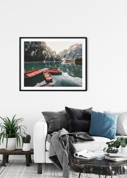 Wooden Rowing Boats In A Mountain Lake