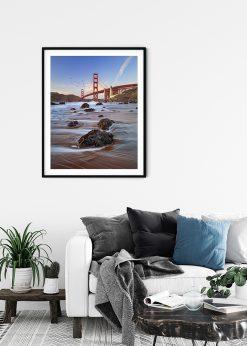 Stone Beach In Front Of Golden Gate Bridge
