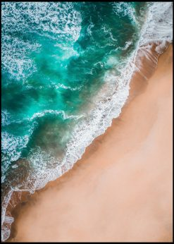 Green Waves and Rust Brown Sand