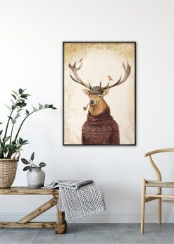 Deer in Knitted Sweater by Mike Koubou